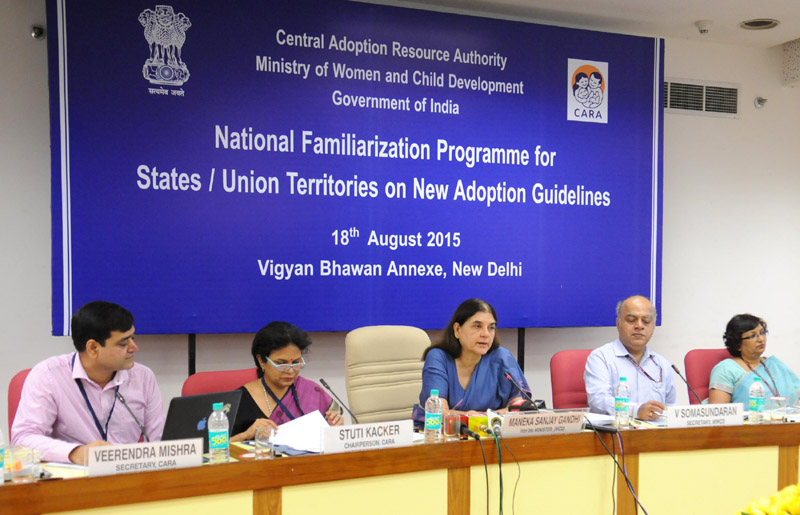 Smt. Maneka Sanjay Gandhi addressing the National Familiarization Programme for StatesUTs